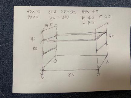 手書きで書いた構図の画像