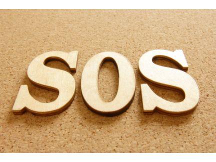 SOSの木の文字の写真
