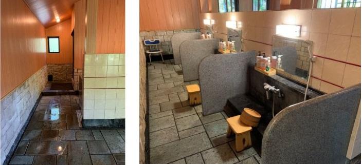 山みず木の貸切風呂、風呂内の洗い場の写真