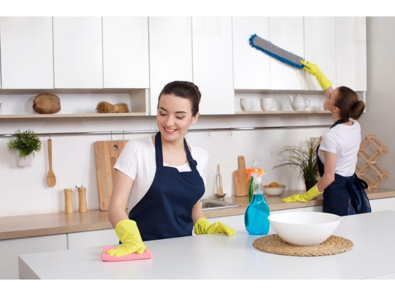 キッチンを掃除する2人の女性