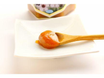 木製のスプーンでマヌカハニーをすくった後、お皿の上に置いた写真