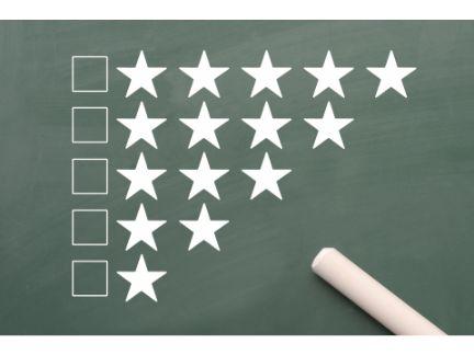 1つ星から5つ星までの評価を表す写真