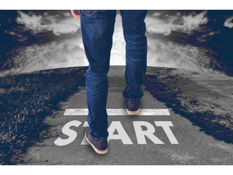 新しい1歩を踏み出す写真